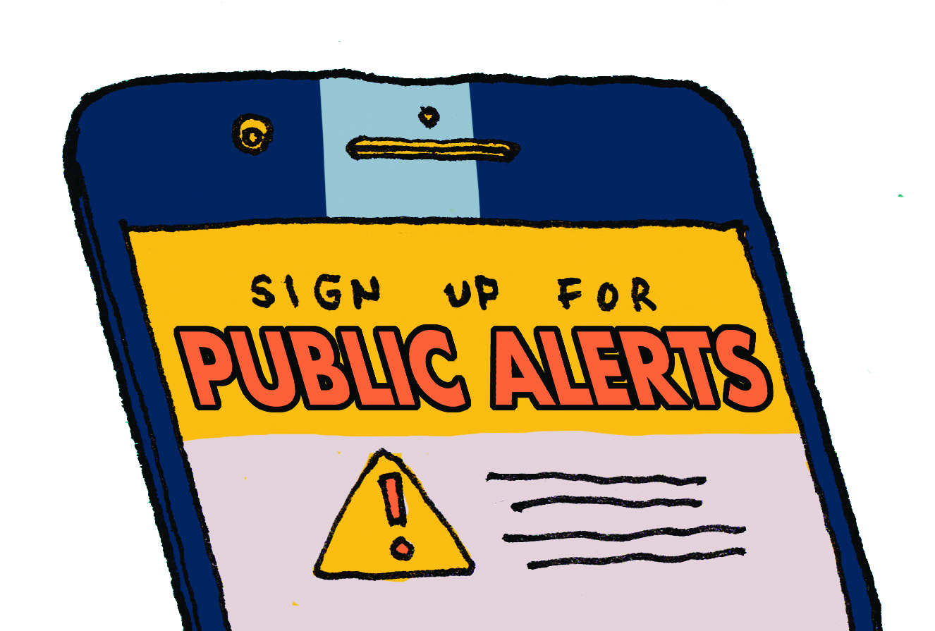 "Graphic of a cell phone with message on screen that says ""Sign up for Public Alerts"""