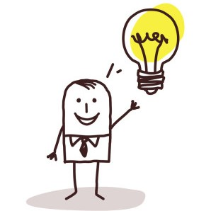 Smiling cartoon person with arm raised and a light bulb image next to it's head.