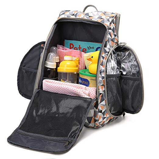Backpack full of infant care items