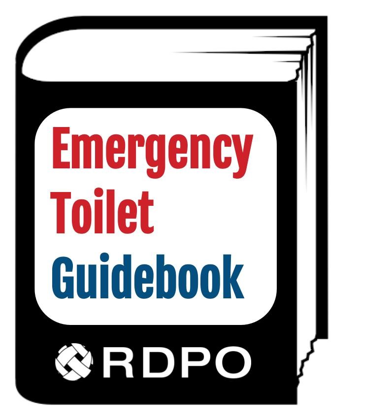 Book with the words Emergency Toilet Guidebook on the front, as well as the RDPO logo.