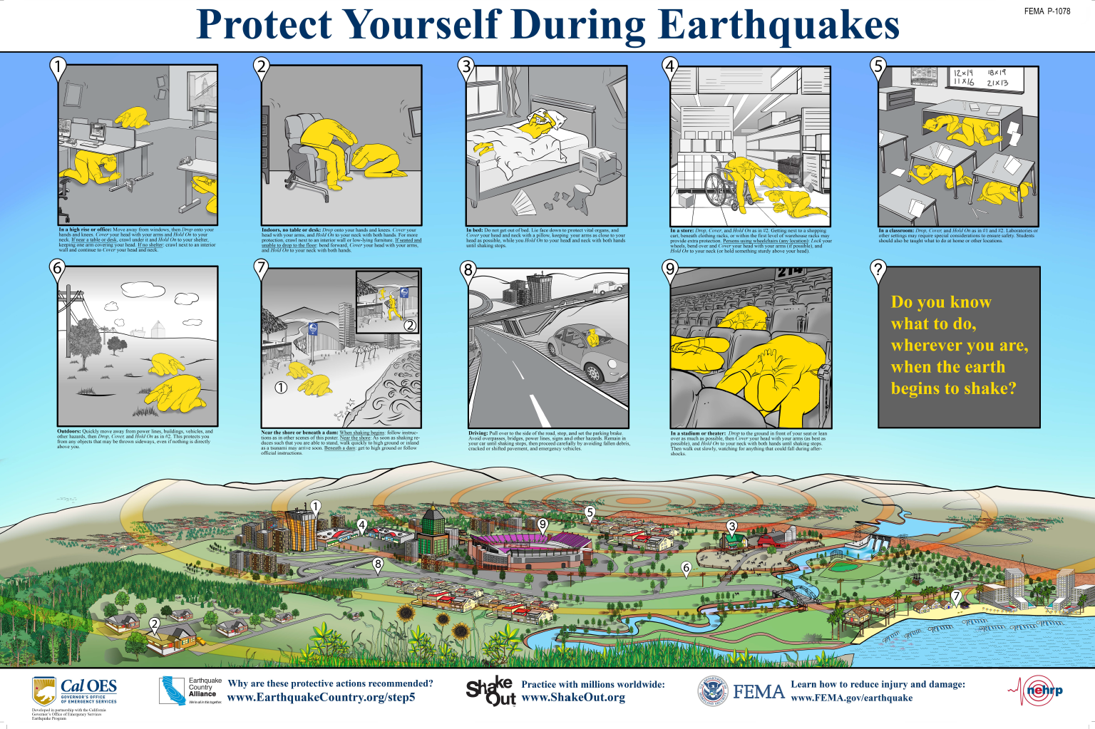 "FEMA poster with graphics and words, titled ""Protect Yourself During Earthquakes."" Links to a PDF version of the document on FEMA's website."