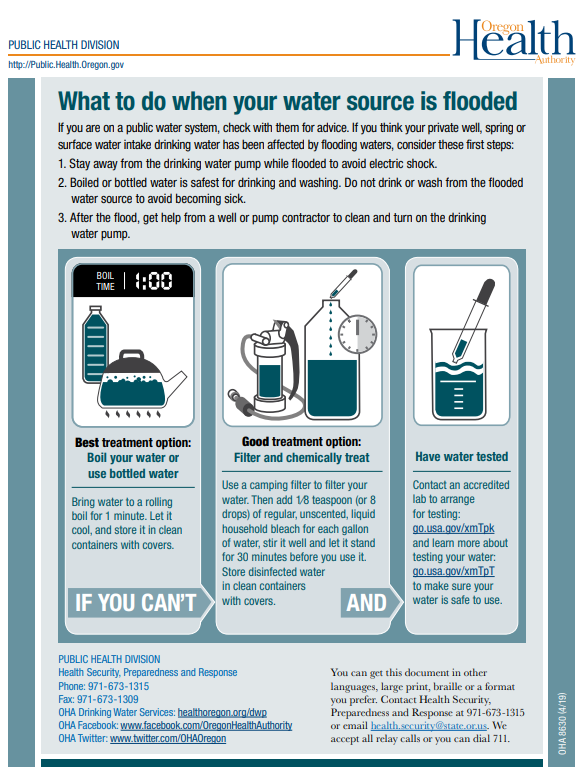 "Thumbnail of the ""What to do when your water source is flooded"" handout."