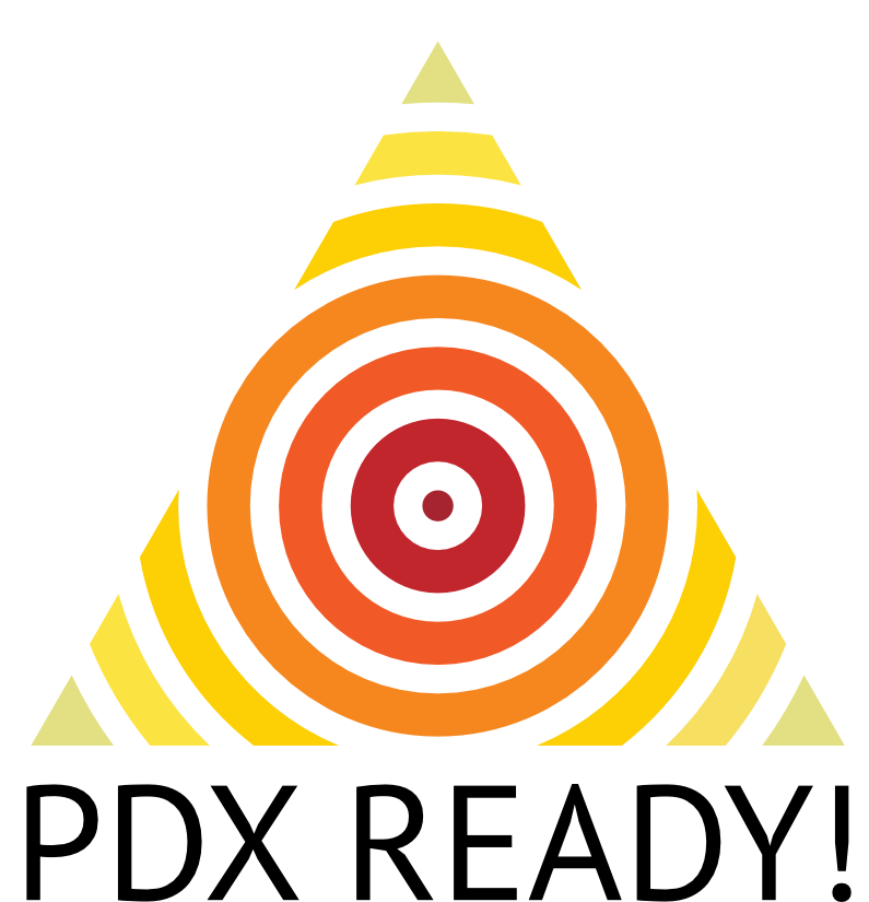 PDX Ready logo. It's triangular with concentric circles inside.