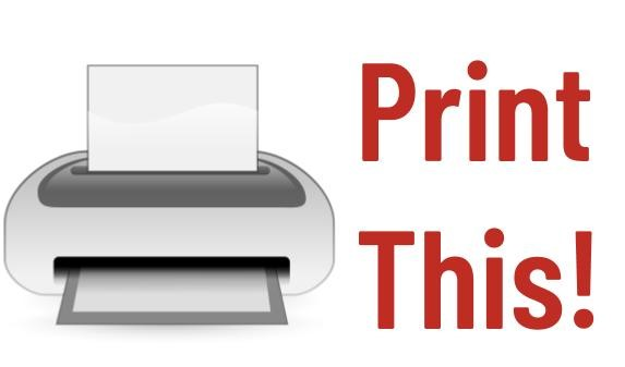 "Graphic of printer and the words ""Print this!"""