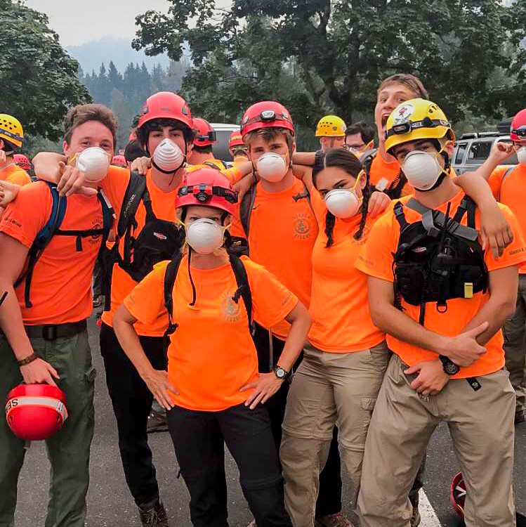Cleveland High School students pose for group photo during the Eagle Creek Fire. They are Search and Rescue volunteers with Multnomah County Search and Rescue.