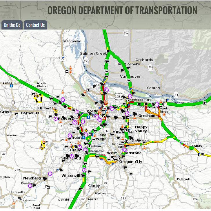Screen shot of the Trip Check website, which shows a live map with traffic alerts. Trip Check is maintained by the Oregon Department of Transportation.