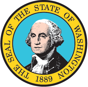 Seal of the State of Washington. It has George Washington's face in the middle.