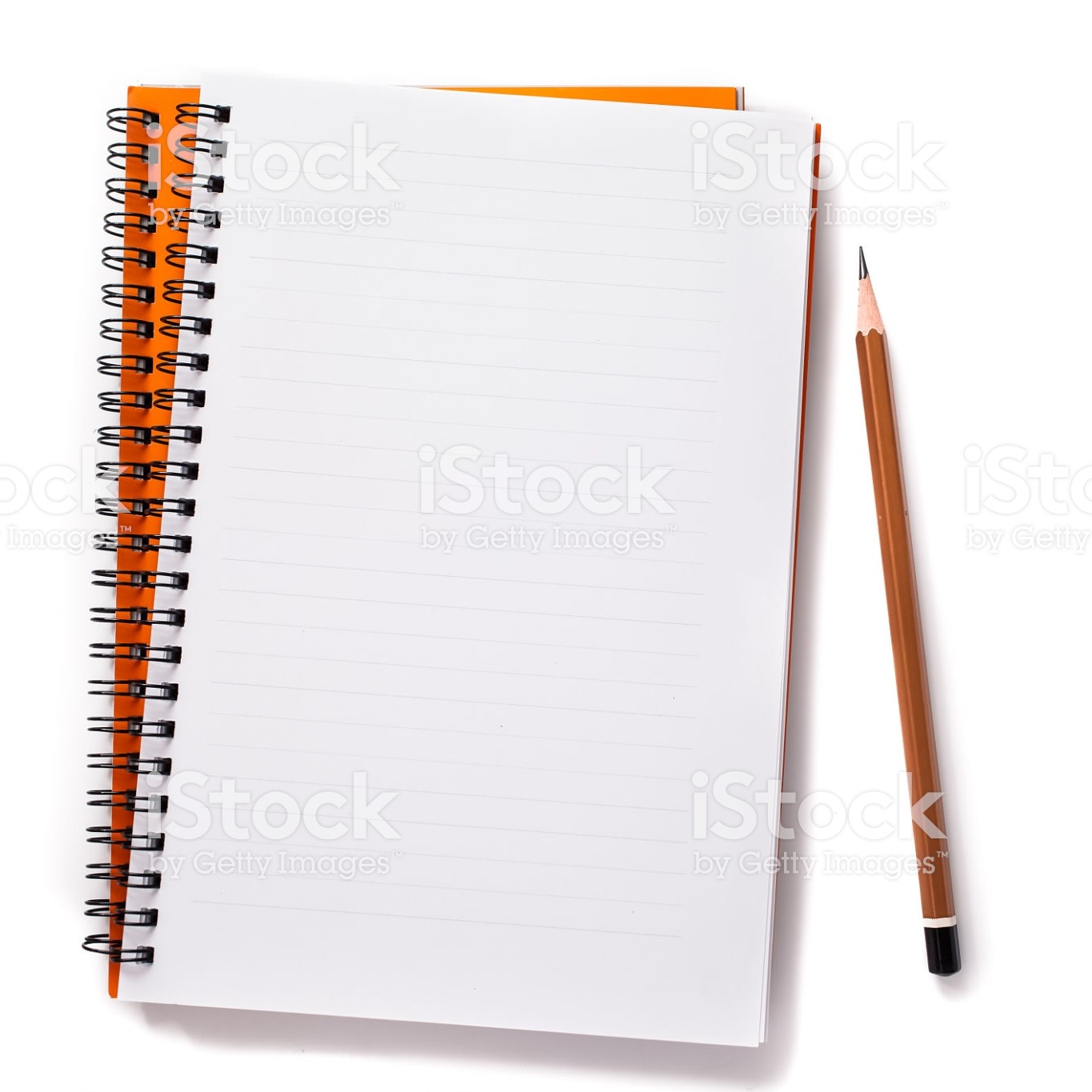 Bound notebook open to a blank page with pencil